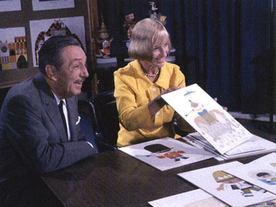 "Mary and Walt presenting their concept for ""It's a Small World"" for the Worlds Fair"